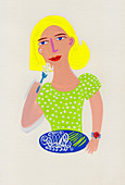 Woman eating noodles and green beans, illustration