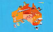 Tourism map of Australia and Tasmania, illustration
