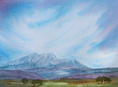 Mountains and blue sky, illustration