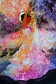Flamenco dancer in abstract pattern, illustration