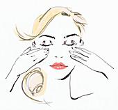 Beautiful woman massaging face, illustration