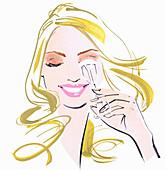 Close up beautiful woman using eyelash curlers, illustration