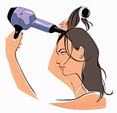 Woman brushing and drying hair, illustration