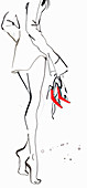 Beautiful woman tiptoeing and carrying shoes, illustration