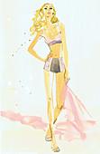 Beautiful woman wearing pink lingerie, illustration