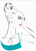 Serious glamorous beautiful woman, illustration