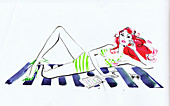 Woman in bikini relaxing on beach towel, illustration
