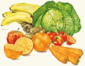 Pile of fresh fruit and vegetables, illustration