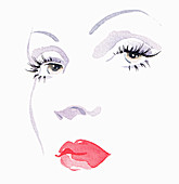 Close up of woman wearing red lipstick, illustration