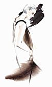 Woman wearing retro flapper dress, illustration