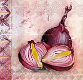 Red onions, illustration