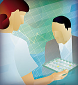 Nurse handing patient medication, illustration