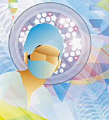 Doctor looking down in operating theatre, illustration