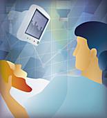 Nurse checking monitor, illustration