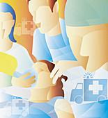 Doctors and nurses giving patient oxygen, illustration