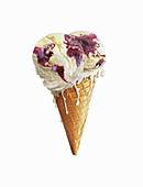 Global map on melting ice cream cone, illustration