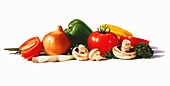 Pile of fresh vegetables, illustration