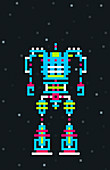 Pixelated robot, illustration