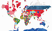 Map of the world and national flags, illustration