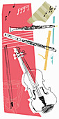 Music and musical instruments, illustration