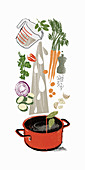 Cooking ingredients pouring into stock pot, illustration