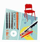 Graphic artist's pens and equipment, illustration