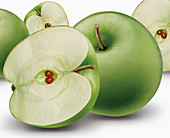 Close up of whole and halved green apples, illustration