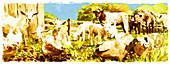 Farmyard animals in field together, illustration