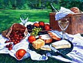 Food and wine on picnic blanket, illustration