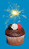 Chocolate cupcake with sparkler, illustration