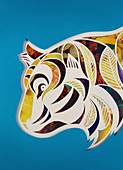 Paper collage of tiger's head, illustration