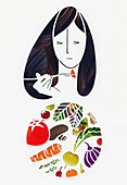 Woman eating fresh vegetables, illustration