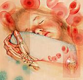 Sleeping girl with arthritis in hand, illustration