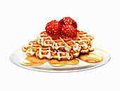 Raspberry waffles oozing with honey, illustration