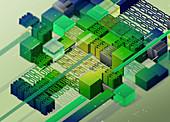 Blocks and binary code, illustration