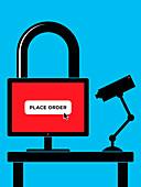 Secure online shopping, conceptual illustration
