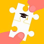 Graduate jigsaw puzzle pieces, illustration