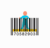 Baby standing up in barcode cot, illustration