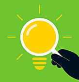 Magnifying glass light bulb, illustration