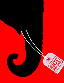 Elephant with Not For Sale sign, illustration