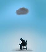Man sitting under a black cloud, illustration