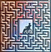 Man in wheelchair in centre of maze, illustration