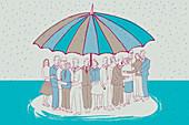 People under large umbrella, illustration