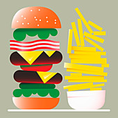 Hamburger and chips, illustration