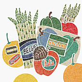 Food labels with country of origin, illustration