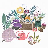 Woman gardening, illustration