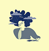 Woman with storm around head, illustration