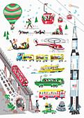 Different modes of transport, illustration