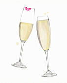 Champagne glasses clinking in toast, illustration