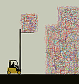 Forklift stacking cubes of tangled lines, illustration